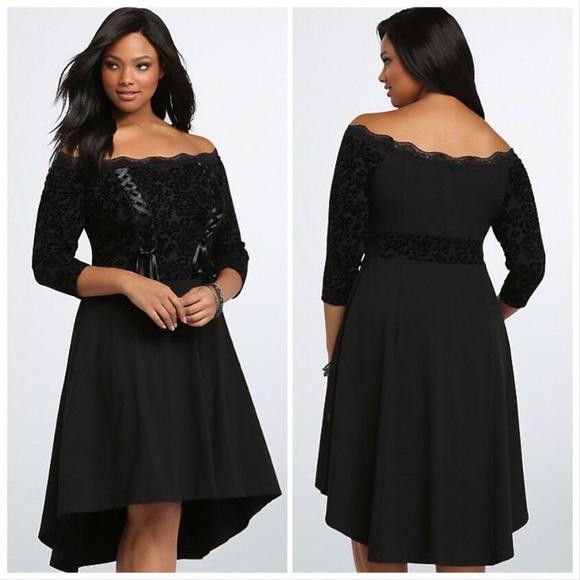 Tripp NYC Plus Size Goth Black Off Shoulder Dress